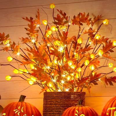 Lighted Branches with Japanese Lanterns Fall Decoration
