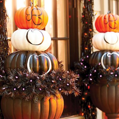 BOO Stacked Pumpkins Halloween Decor
