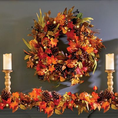 "26"" Pre-Lit Fall Foliage Wreath"