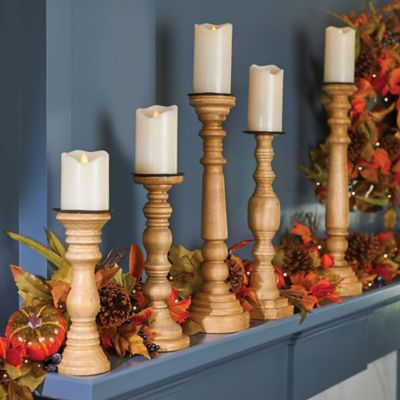 Wood Candle Holders-Set of 5