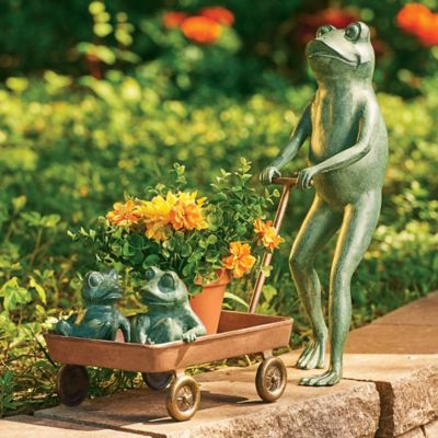 Frog Family with Wagon Plant Holder