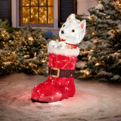 Animated Dog Inside Santa's Boot Outdoor Christmas Decoration