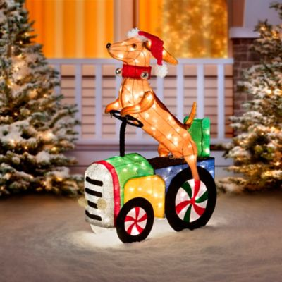 Hound Dog Riding Tractor Outdoor Christmas Decoration