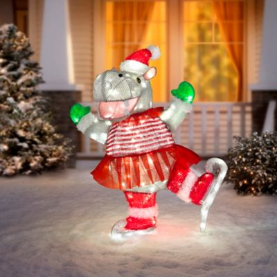 Ice Skating Hippo Lighted Outdoor Christmas Decoration