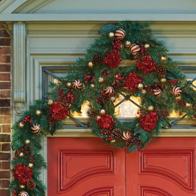6' Pre-Lit Holiday Hydrangea Christmas Garland