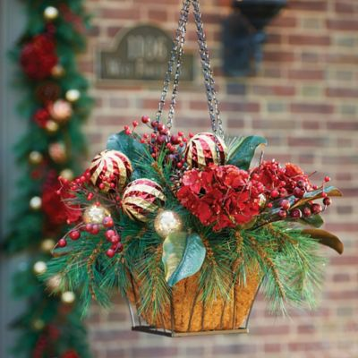 Pre-Lit Holiday Hydrangea Christmas Hanging Basket
