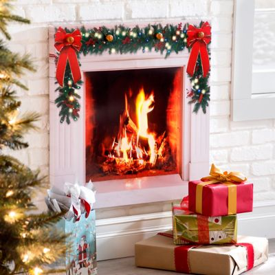 Faux Fireplace Lighted Christmas Wall Decor