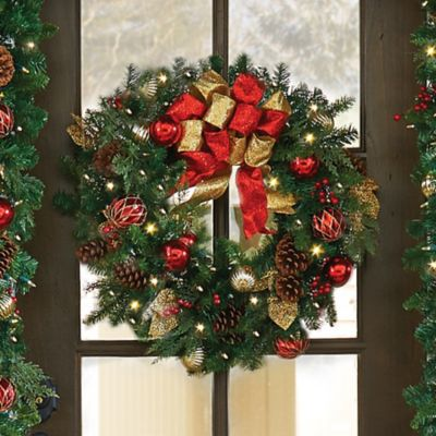"26"" Pre-Lit Madison Christmas Wreath"