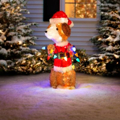 Santa Dog with Lights Outdoor Christmas Decoration