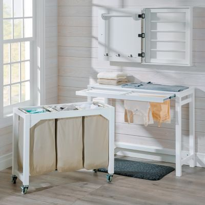 Laundry Folding Table with 3 Clothes Hampers