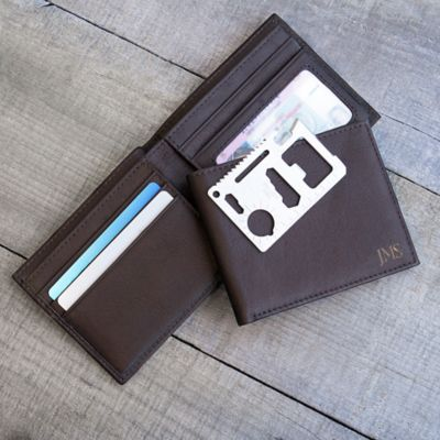 Personalized RFID Leather Wallet with Tool