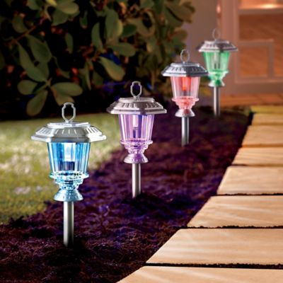 Color-Changing Solar Path Lights-Set of 4