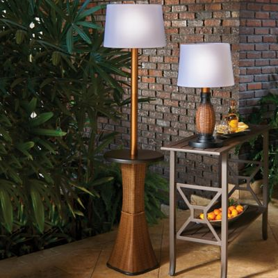 Battery Operated Wicker Outdoor Floor Lamp