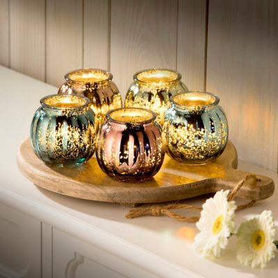 Mercury Glass Candle Holders with Wood Tray