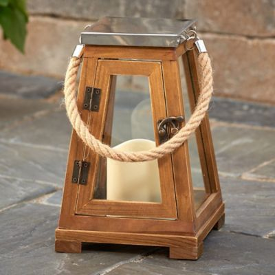 Nicholas Natural Wood LED Candle Lanterns