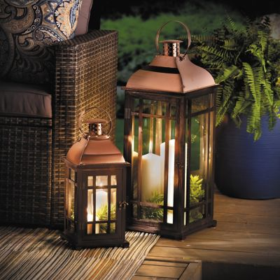 Black & Rose Gold Nested Outdoor Lanterns-Set of