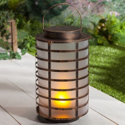 FireGlow Antique Bronze LED Metal Lantern