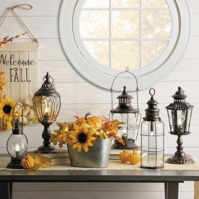 Battery Operated Antique Metal Lantern