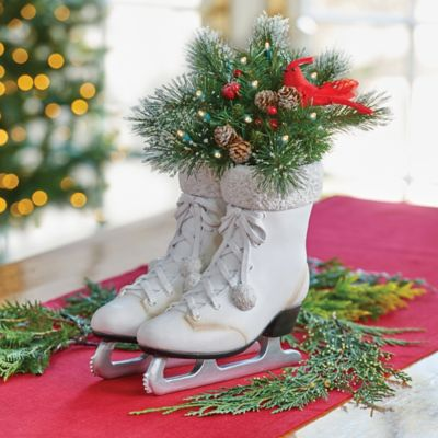 Ice Skates with Greenery Lighted Christmas Decor