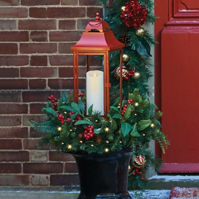 Lighted Christmas Lantern with Greenery