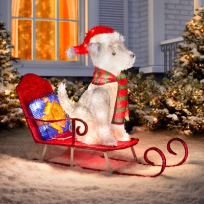 Sled Riding Husky Lighted Outdoor Christmas Decoration
