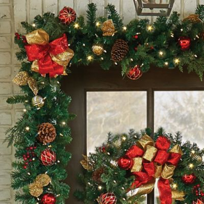 9' Pre-Lit Madison Christmas Garland