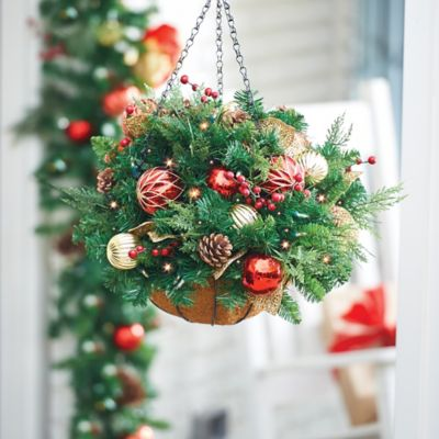 Pre-Lit Madison Hanging Basket Christmas Decoration