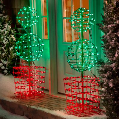 4' Proline Double Ball Topiary Outdoor Christmas Decoration