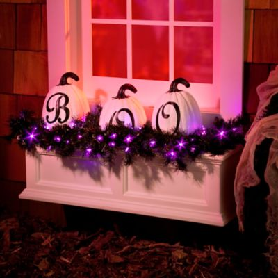 3' Lighted Color Changing Black Halloween Garland