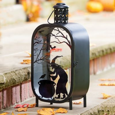 Lighted Halloween Lantern with Witch