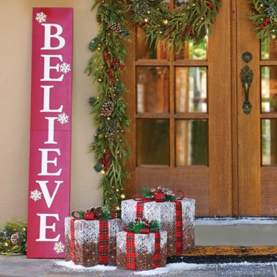 Believe Wooden Sign Lighted Christmas Decor