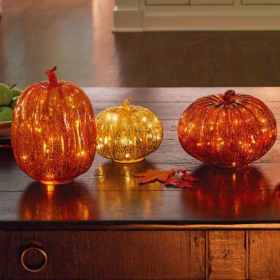 Lighted Glass Pumpkins Fall Decor-Set of 3