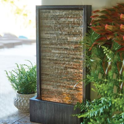 Slate Water Wall Outdoor Fountain with LED Light