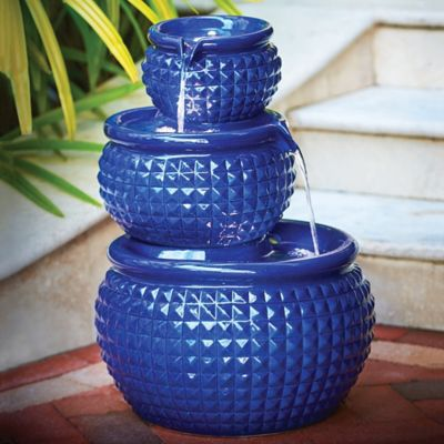 3-Tier Ceramic Pot Outdoor Fountain