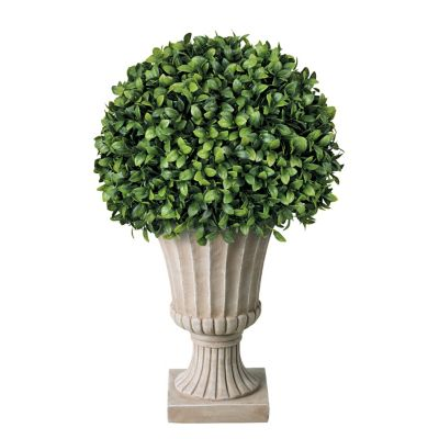 "20"" Long Leaf Boxwood Topiary Ball"