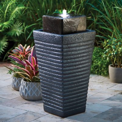 Column Shaped Outdoor Fountain with Light
