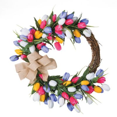"24"" Grapevine & Tulips Floral Wreath"