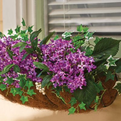 "24"" Pre-lit Lilac Window Box Filler Floral Decoration"
