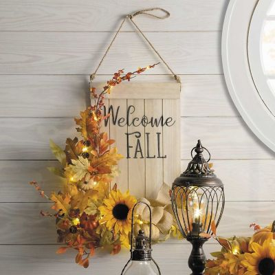 Pre-lit Wooden Welcome Fall Sign