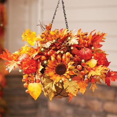 Autumn Mums and Sunflowers Fall Hanging Basket