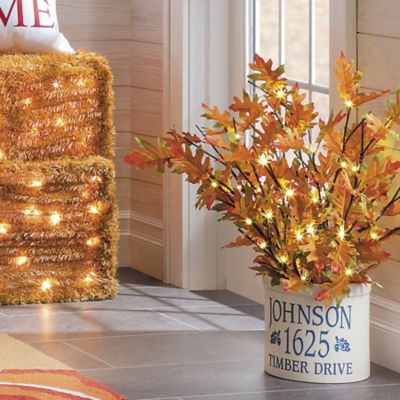 Oak Leaf Lighted Branches Fall Decoration-Set of 2
