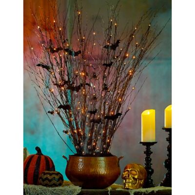 Lighted Branches with Bats Halloween Decoration