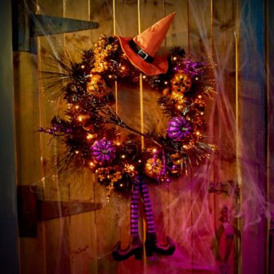 Lighted Witch Halloween Wreath