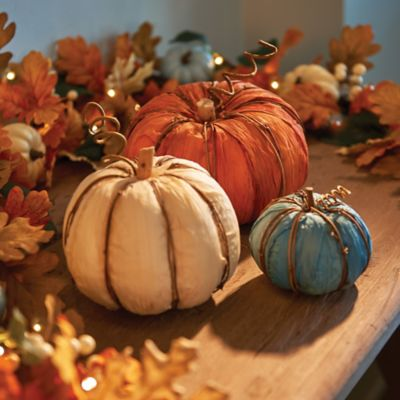 Corn Husk Pumpkins Fall Decoration-Set of 3