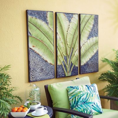 Green Palm Leaves Triptych Outdoor Wall Art