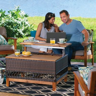 Lift Up Outdoor Coffee Table with Storage