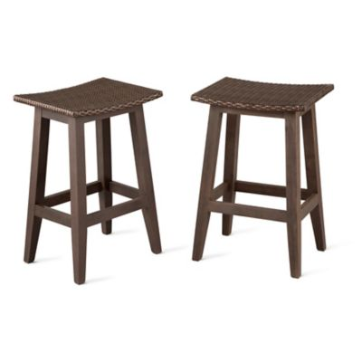 Montego Bay Resin Wicker Outdoor Bar Stools-Set of