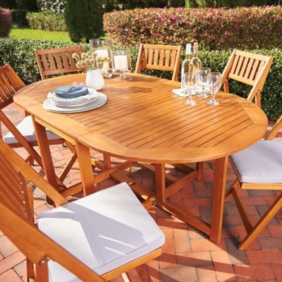 7-Piece Westport Wood Patio Dining Set with Cushions