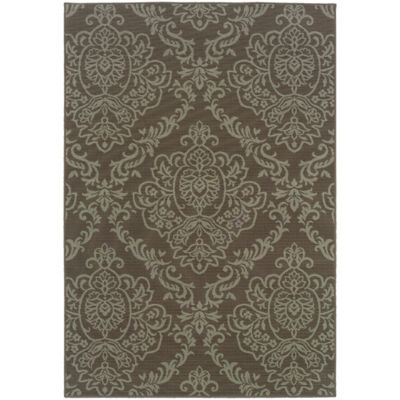 Lovina Brown Damask Indoor/Outdoor Rugs