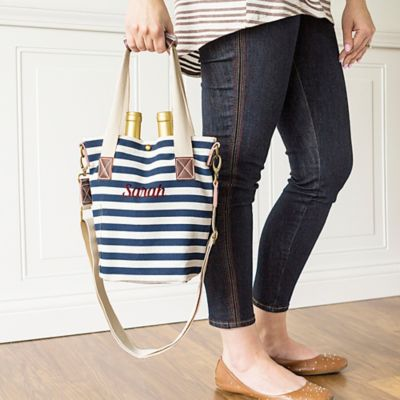 Personalized Striped Canvas Wine Tote Bag